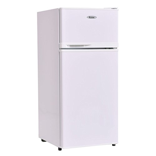 Costway 3.4 cu. ft. 2 Door Compact Mini Refrigerator Freezer Cooler,White by COSTWAY