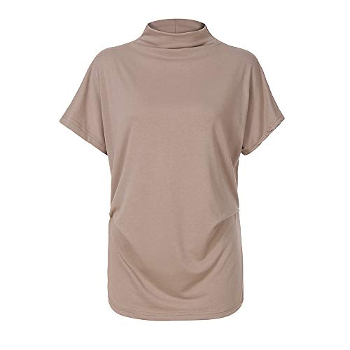 TWGONE Cap Sleeve Tops For Women Plus Size Turtleneck Solid Casual Blouse Top T Shirt (XXX-Large,Khaki) by TWGONE (Image #1)