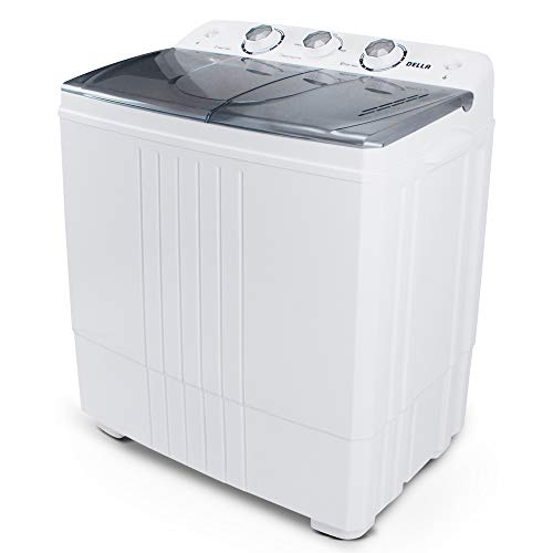 Della Portable Mini Washing Machine (White) 11pounds Washer Capacity with Top Load Laundry Spin Dryer Combo
