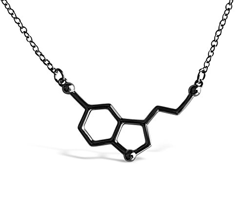 Rosa Vila Happiness Serotonin Molecule Necklace For Women, Happy Serotonin Necklace, Science Jewelry For Women, Ideal Necklaces For Teacher, Professor, Chemistry Grad And Science Lovers (Carbon - Minimalist Jewelry Modern