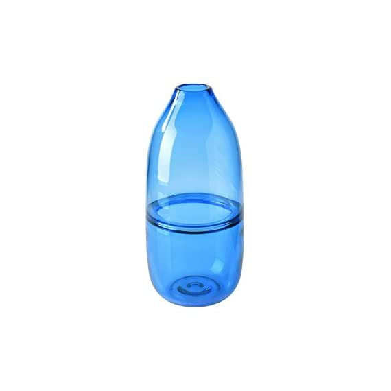 """CASAMOTION Optic Hand Blown Solid Color Art Glass Vase, Gift Boxed, Blue, 12 Inch - SIZE: Measures 11.8"""" height, 5.3"""" length and width, narrow opening cylinder bottle shape vase HANDMADE&MOUTHBLOWN: Each product is individually mouthblown and hand-finished by skilled craftsmen. Slight variations may occur. SODA-LIME GLASS: All CASAMOTION handmade glass is produced from soda-lime glass-which is lead free, unlike crystal. - vases, kitchen-dining-room-decor, kitchen-dining-room - 31bKpzfJcyL. SS570  -"""