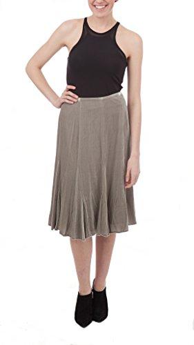 Lauren by Ralph Lauren Fluted Tea Length Skirt, Mist Gray, 8