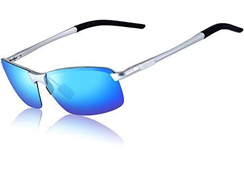 ATTCL Men's Ultralight Al Mg Frame Driving Polarized Sunglasses For Men 18143 Blue (Blue Lens)