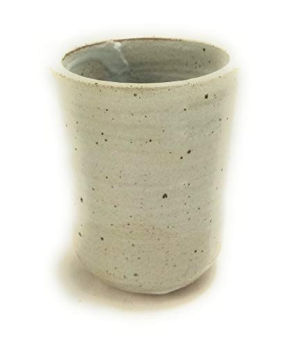 - Hand Made Clay Round Cup, White Glazed with Gloss Finish, Pottery is Perfect To Hold Toothpicks, Q Tips, Pencils, ect, Approximate Size 3 Inches by 3 Inches