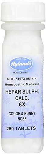 Hyland's Hepar Sulphate Calcium 6X Tablets, Natural Homeopathic Relief of Cough & Runny Nose, 250 Count Homeopathic Remedy Runny Nose