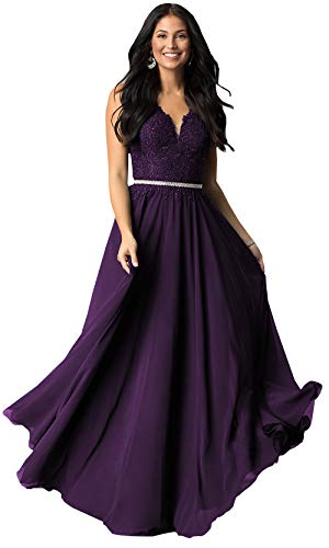 (Sleeveless Lace Bodice Chiffon Bridesmaid Dresses Long Formal Party Prom Gown (Plum,2))