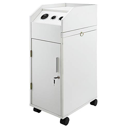Happybuy Salon SPA Beauty Hairdressing Cart Storage Trolley White with 4 Drawers Rolling Wheels Lockable 2 Keys w/Hairdryer Holder Space-saving Side Tray