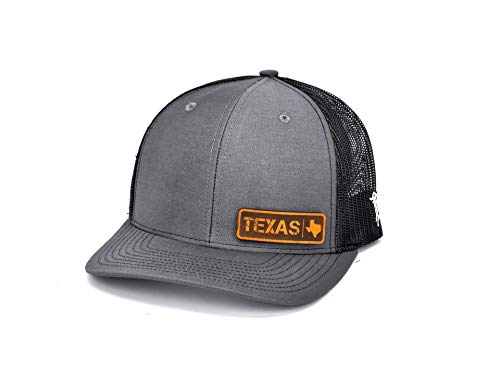 (Branded Bills 'Texas Native' Leather Patch Hat Curved Trucker - OSFA/Charcoal/Black)