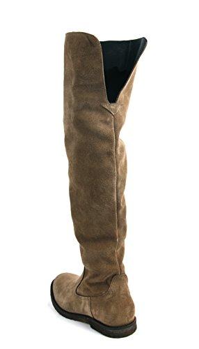 ca`shott Lederstiefel Taupe Suede Boots 183 - antiallergisches Leder