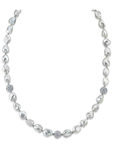 THE PEARL SOURCE 7-8mm Genuine Baroque White Freshwater Cultured Pearl Cubic Zirconia Necklace for Women