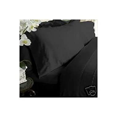 Solid Black 450 Thread Count Queen Size Sheet Set, 100% Egyptian Cotton Deep Pocket Bed Sheets 450TC.