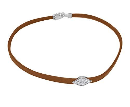 - Silver Evil Eye Genuine Tan Leather Choker Necklace | Alef Bet by Paula