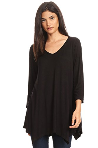 USA Round Fit Tunic Hte00010 Sleeves Neck Women's Made Long Black Top in Loose Tx4aqw4v