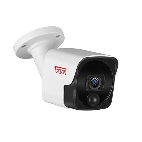 Tonton 5MP PoE IP Bullet Camera Outdoor,150Ft Long IR Night Vision,Audio Recording,Thermal Sensing PIR,ONVIF Compliant,Metal Housing Surveillance Video System,Suitable for Tonton PoE NVR Recorder