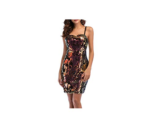 Women Sexy Sequined Dresses Strapless Lulu Back Tight Sling Casual Mini Dress Summer Nightclub Party Dress,As Shown,M,176]()