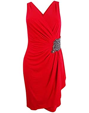 Women's Beaded Draped Jersey Dress (2, Red)