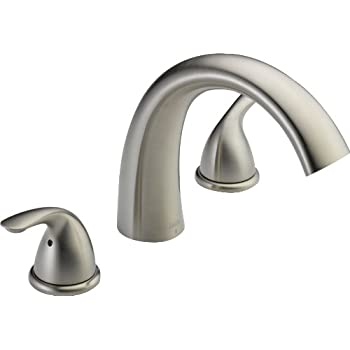 Image of Home Improvements Delta Faucet Classic 2-Handle Widespread Roman Tub Faucet Trim Kit, Deck-Mount, Stainless T2705-SS (Valve Not Included)