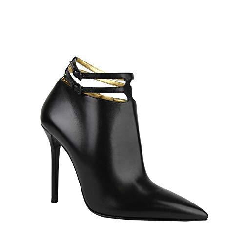 Bottega Veneta Women's Black Ankle Leather Heels with 2 Straps 443164 1000 (40 EU / 10 US)