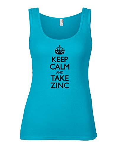 shirtloco Women's Keep Calm and Take Zinc Tank Top, Caribbean Blue Extra Large