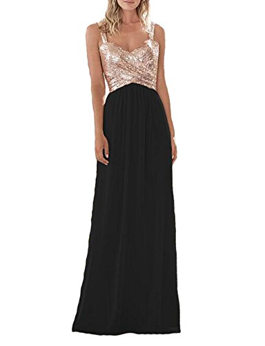 Firose Women's Sequined Sweetheart Backless Long Prom Bridesmaid Dress RoseGold/Black US16 (And Prom Dress Gold Black)