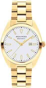 Movado Women's Heritage Yellow Gold Watch with a Printed Index Dial, Gold/Silver (Model 3650038)