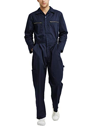 TOPTIE Men's Big-Tall Action Back Coverall with Zipper Pockets, Zipper Navy, S