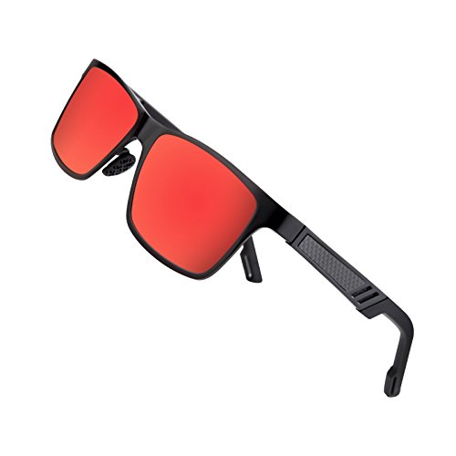 glasses for Men Driving Fishing Running Wayfarer Vintage Al-Mg Metal Frame Sun Glasses Red (Best Sports Sunglasses)