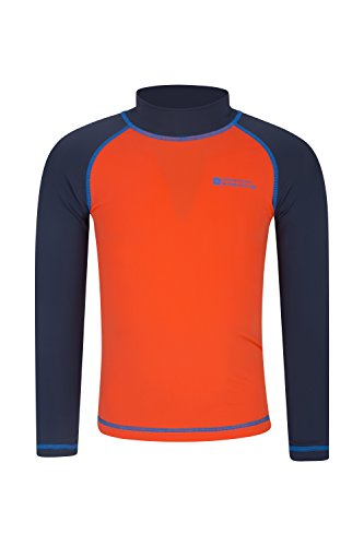 Mountain Warehouse Kids Rash Vest - UV Protection Rash Guard Orange 9-10 years