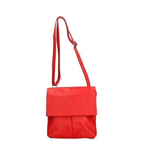 Aren Bolso de hombro de mujer en cuero genuino Made in Italy - 24x24x2 Cm Rojo