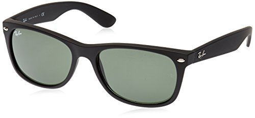 Ray-Ban Men's New Wayfarer Square Sunglasses, Black Rubber, 58 - Lens Black Wayfarer Ban Ray