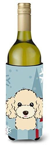 (Caroline's Treasures Winter Holiday Buff Poodle Wine Bottle Koozie Hugger, 750 ml, Multicolor)