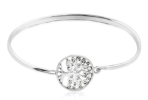 Honolulu Jewelry Company Sterling Silver Tree of Life Circle with Antique Finish Bangle Bracelet