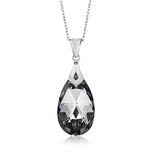 crystal teardrop pendant necklace - 4