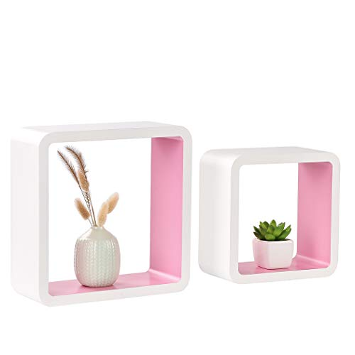 (Homewell Set of 2 Cube Floating Shelves, Wood Wall Shelves for Home Decoration, Storage Display Rack, White+Pink.)