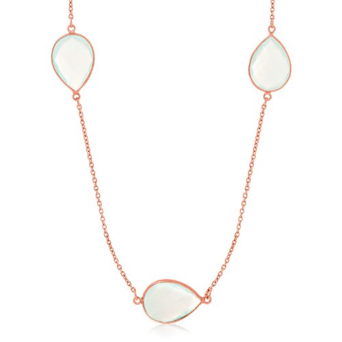 Sterling Silver Rose Gold Plated Teardrop Station Long