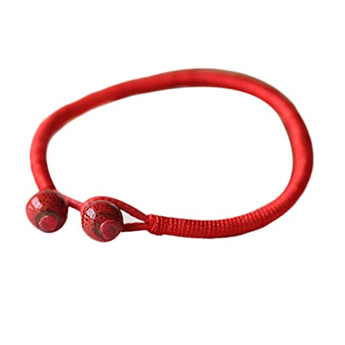 shelian Lucky Bead Red String Ceramic Retro Vintage Bracelet Jewelry Unisex Ornament Lodestar