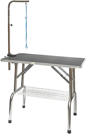 Go Pet Club Heavy Duty Stainless Steel Pet Dog Grooming Table with Arm, (Grooming Table Shelf)