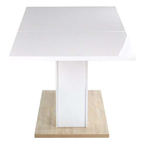 cheap homycasa high gloss white extendable rectangular