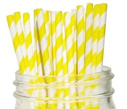 Premium Paper Drinking Straws for Holiday, Anniversary, Birthday, Graduation, Wedding, Bridal & Baby Parties. 100% Biodegradable Vintage, Retro and Fun Paper Straws. Pack of 50. (Yellow ()