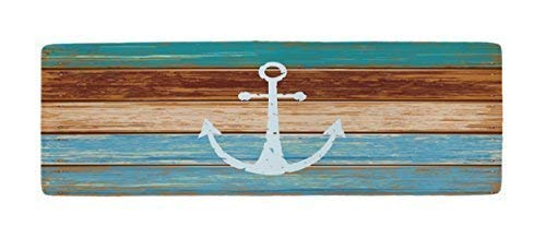 Ihome888 Nautical Anchor Bath Mats and Rugs, Flannel Fabric Non Slip Rubber Backing Absorbent Bathroom Rug Kitchen Rug Floor Carpet Runner, 48L x 16W Inch, Turquoise and ()