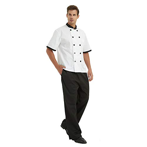 TOPTIE Black Chef Pants with Elastic Wai...