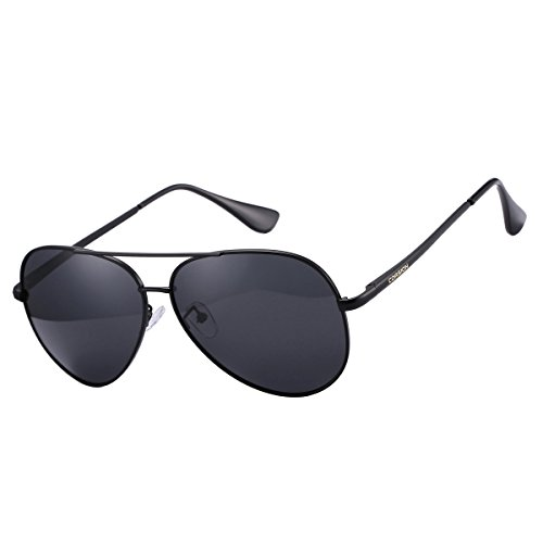 Classic Large Aviator Sunglasses Polarized Mirrored Lens Metal Frame COASION Shades for Men Women with Leather Box (Black, - Shades Designer Cheap