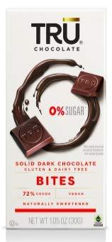 TRU Chocolate 72% Solid Dark Chocolate –No Sugar, Gluten Free, NON-GMO, Vegan, Dairy Free, Kosher, All Natural, 2.1oz.