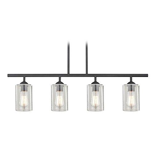 Linear Glass Pendant - Industrial Seeded Glass Linear Pendant Light Black 4 Lt