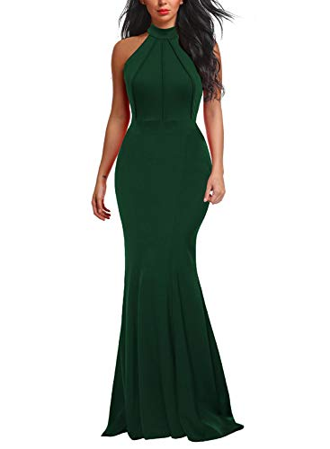 - Berydress Women's Sleeveless Halter Neck Mermaid Formal Long Evening Dress (M, 6075-Dark Green)