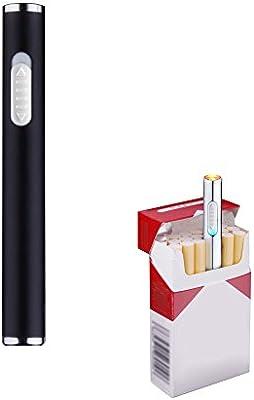 Mini USB de mechero, recargable, resistente al viento, mechero electrónico plasma sin llama, portátil, negro: Amazon.es: Hogar