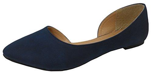 - Cambridge Select Women's Closed Pointed Toe Inner D'Orsay Cutout Slip-on Ballet Flat,10 B(M) US,Navy Blue Nbpu