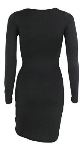 Cruiize Sleeve Womens Ruched Bandage V Deep Mini Neck Dress Long Sexy Black 81Urq7w8