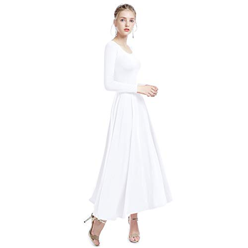 - Women Liturgical Praise Lyrical Dance Dress Loose Fit Full Length Dancewear Evening Gowns Christian Worship Costume White XXL