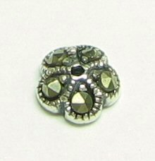 4x Sterling Silver Marcasite Round Flower Bead Cap 6.2mm X 2.5mm/Findings/Antique